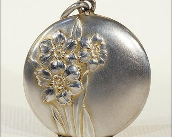 Reserved ~ Antique Silver Daffodil Flower Locket, Double Sided