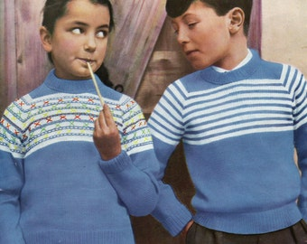 Child's Sweater A4 PDF Reproduced Vintage Knitting Pattern, Marriner 545