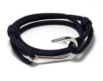 Men's Women's Fish Hook Bracelet Black  Hand Made USA  Adjustable