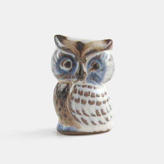 Small Ceramic Owl Figurine Studio Pottery Sky Blue White