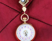 14K Rose Gold Ladies Pocket Watch with Hand Painted Dial and Carved Cameo Brooch