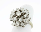 Large Cluster Diamonds Statement Ring 14K Gold