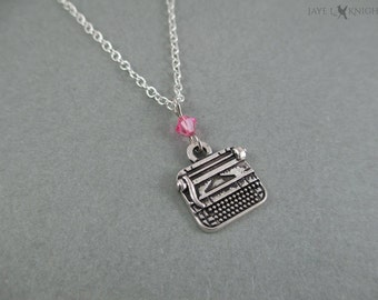 Writer Typewriter Necklace - Author Gift - Novelist - Writing - Silver Charm