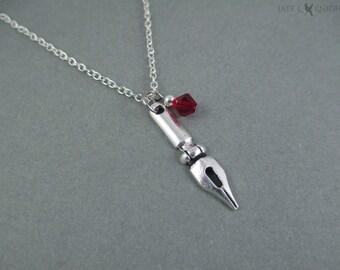 Writer Pen Nib Necklace - Writer Gift - Author Gift - Novelist - Silver Charm