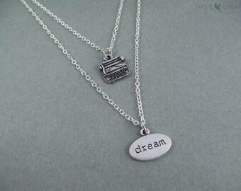 Writer Layered Dream Typewriter Necklace - Writer Gift - Author Gift