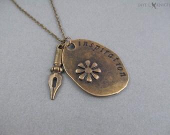 Writer Inspiration Pen Nib Necklace - Writer Gift - Author Gift - Novelist - Bronze