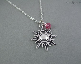Silver Sun Charm Necklace - Tangled Inspired - Rapunzel