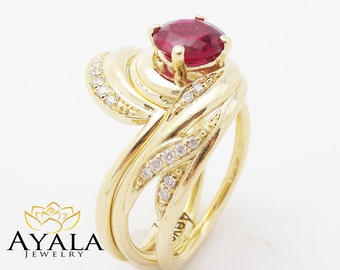 unique design ruby wedding ring set in 14k yellow gold ruby engagement rings vintage styled bridal - Ruby Wedding Ring