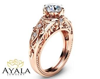 Moissanite Vintage Engagement Ring Forever One Moissanite Ring 14K Rose Gold Vintage Engagement Ring