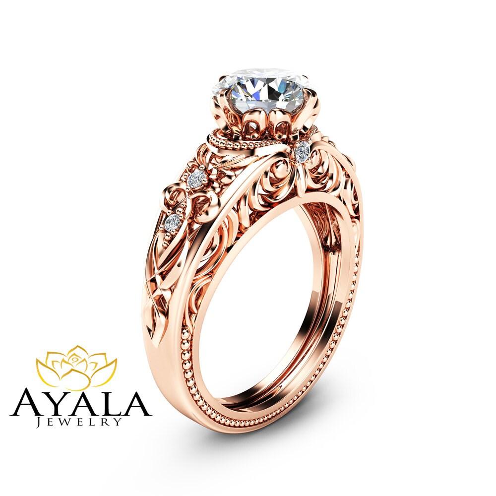 moissanite vintage engagement ring forever one moissanite ring