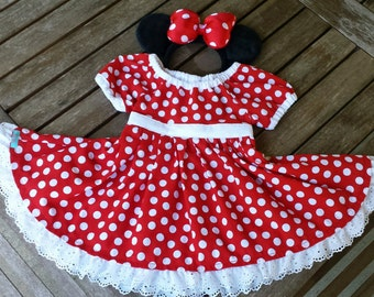 Minnie Mouse Dress, Minnie Mouse Costume, Minnie Dress, Red Minnie Dress, Minnie Party Dress, Sizes 2T-8, Handmade Red Minnie Mouse Dress