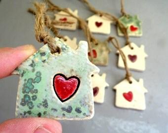 Set of 5 Houses Christmas ornaments , random 5 Christmas ornaments , houses tree decorations , holiday decorations ,  houses decorations