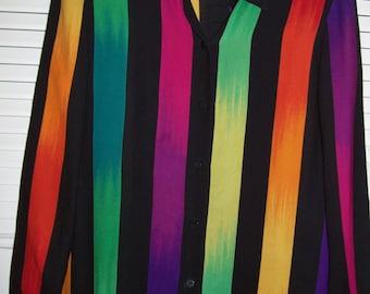 Vintage Ellen Tracy Silk Shirt in Vivid Stripes so ET 80's  Size 4 - 6