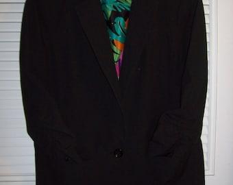 Michael Kors Black Blazer Jacket w Ruched Sleeves - Sharp!  Size 10