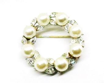 Pearl Brooch - Vintage, Lisner Signed, Silver Tone, Imitation Pearl and Rhinestone Pin