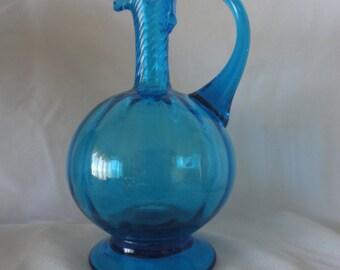 Vintage Hand Blown light Blue Glass Pictcher.****