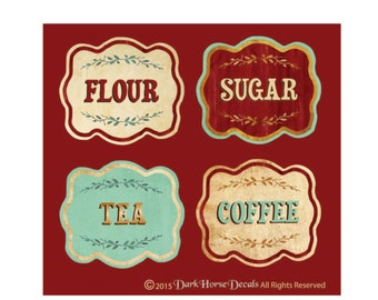 Vintage Style Canister Labels - Set  of 4 - Flour Sugar Tea Coffee