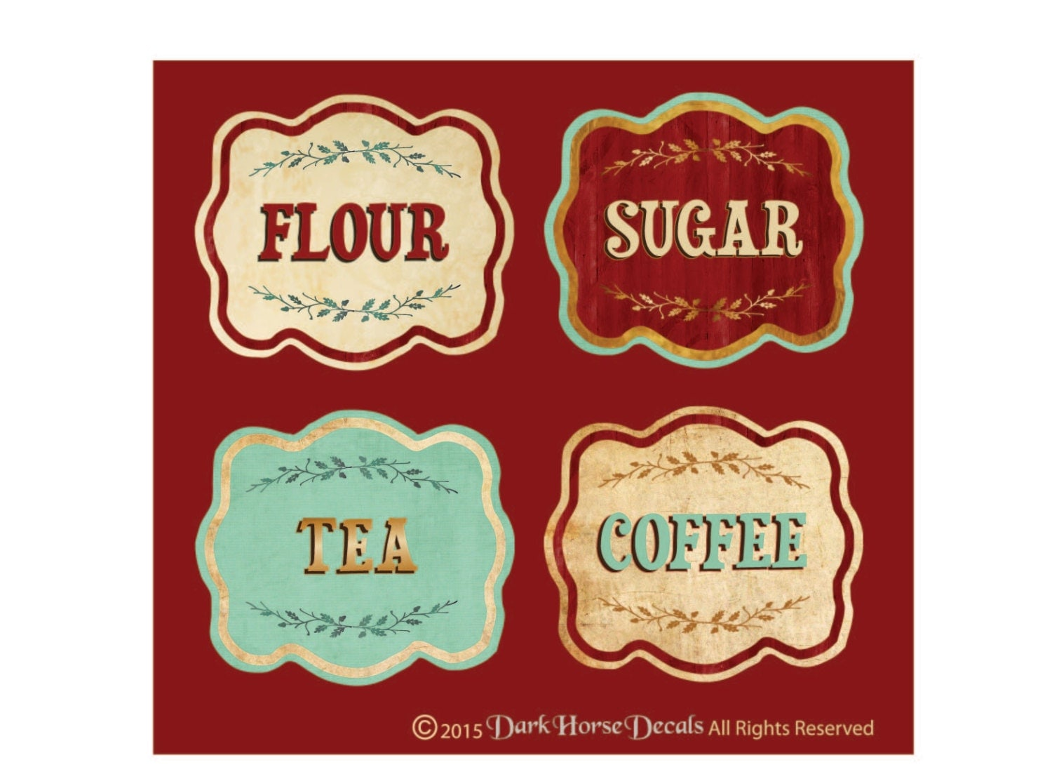Retro Kitchen Canisters Vintage Style Canister Labels Set Of 4 Flour Sugar Tea