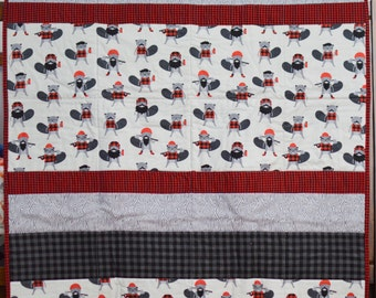 SALE Burly Beaver with Plaid Flannel Quilt