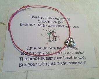 Set of 10* Hen Do Hen Night * Personalised Wish/Charm Bracelets Hen Party