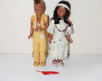 Celluloid Native American Indian Boy and Girl Man and Woman Dolls with Papoose Mohawk Leather
