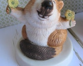 Ceramic Beaver- Heartline Animal Figurine- Woodland Animal- Vintage Ceramic Animal