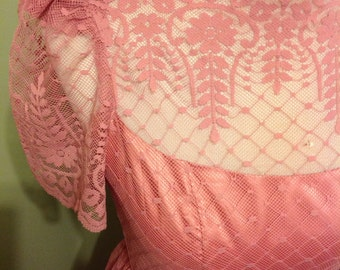 Dusty Rose Vintage Formal Dress, XX Small, Sheer Lace Bodice