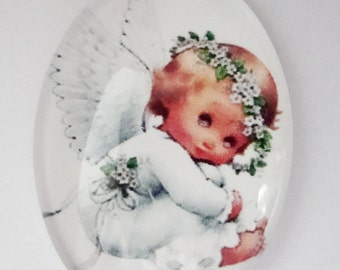 Christmas baby angel,glass cabochon,18 x 25 mm,