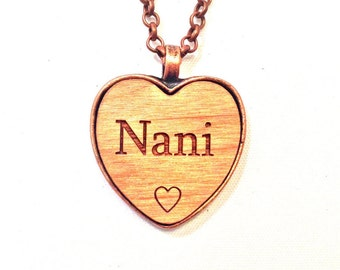 NANI HEART NeCKLaCE pendant NANI's jewelry necklace  Nani keychain wood name handmade chic wooden engraving personalized custom charm gift