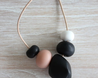 White, Black & Blush - Polymer Clay Bead Necklace, Pink, Multi-coloured, Long Necklace