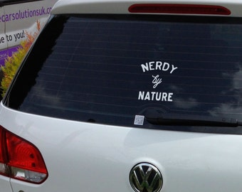 Nerd Car Decal - Awesome Nerdy by Nature Car Decal