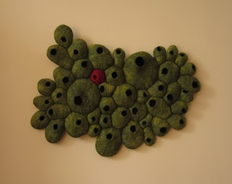 """Hand made, 3 dimensional textile art / wool-felt picture / felted wall hanging titled """"Dissent"""""""