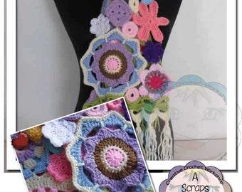 PDF Instant Download Crochet Pattern - Scrapalicious Flower Scarf