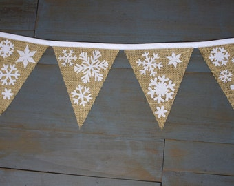 Snowflake Holiday Burlap Pennant Bunting Banner for Winter Wedding, Christmas Photo Prop, Mantle, Party, Classroom or Office Decoration