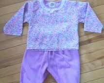 Vintage 1980s Infant Girls Purple Floral Track Suit Set! Size 18 mo.
