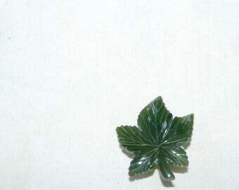 Very Vintage green jade maple leaf brooch