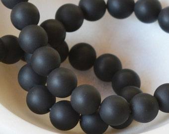 10mm Matte Black Onyx Beads, Round Black Onyx Beads, Black Stone Beads, Frosted Beads, Black Gemstone Beads, 15.5'' Strand, 39 Beads,MAN1613