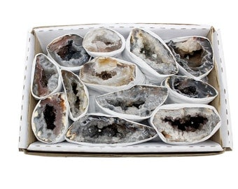 Natural Geode From Brazil 1.5-2 lbs Full Box Approx. 10-15 pieces - Style A - RK48b