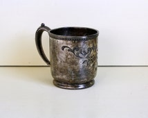 Silver Plate Baby Cup Pairpoint Quadruple Plate Etched Child Cup Scroll Floral