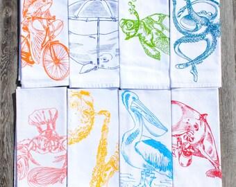 Cotton Napkins - Screen Printed Napkin Set of 8 - Nautical Napkins - Whimsical Place Setting - Funny Napkins - Linens