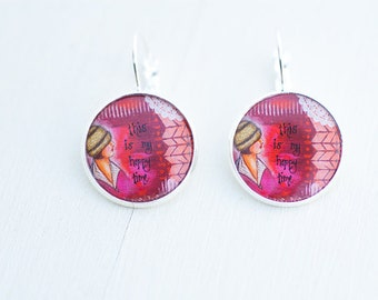 Happy Time Statement Earrings - Inspirational Earrings Jewelry - Handmade Earrings Jewelry - Photo Earrings - Gift for Women - Gift for Her
