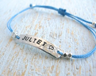 Child Name Bracelet with Heart, Children's Bracelet, Child Name Jewelry, Gift for Children, ID Bracelet