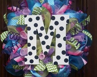 Monogrammed Wreath, Mothers Day, Mesh Wreath, Summer Wreath