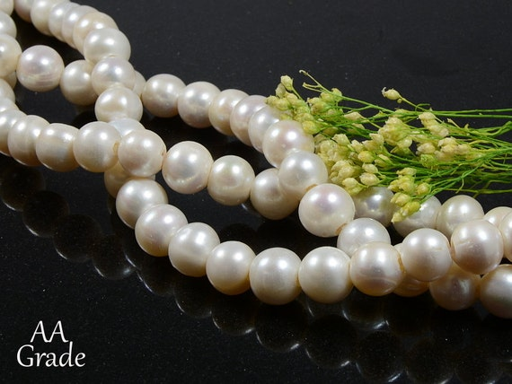 11mm - 12mm Freshwater Pearls, Large Hole (2.5mm), Genuine White Freshwater Pearls AA Grade, Potato Shape Pearls -10 pcs/ order