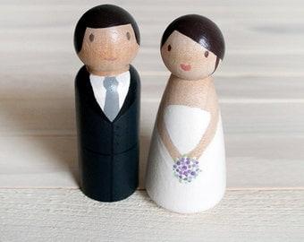 Peg Dolls - Wedding Cake Topper - bride and groom