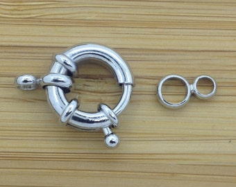 Clasp 16mm Spring Ring Clasp  5 Pieces   Silver Tone