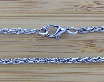 """Rope Chain  28""""  Silver Tone   2.7mm"""