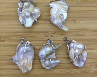 Mother Of Pearl Pendant, Blister Pearl Pendant, Silver Tone   5 PCS