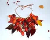 necklace silk cocoon red orange necklace. silk cocoons jewelry. necklace silk cocoon, bright jewerly, colorful necklaces
