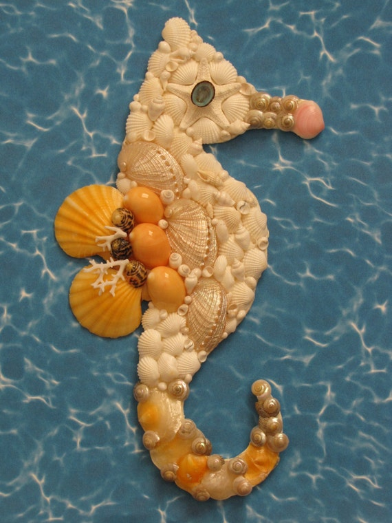 seahorse wall decor seahorse shell art beach decor seashell. Black Bedroom Furniture Sets. Home Design Ideas